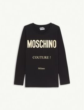 Couture! Long Sleeved Cotton Blend T Shirt 4 14 Years by Moschino
