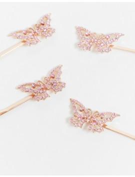 Asos Design – Pakke Med 4 Hårspænder Med Pink Krystalsommerfugle by Asos Design