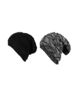 Pack Of 2 Unisex Black & Grey Colourblocked Beanie by Knotyy