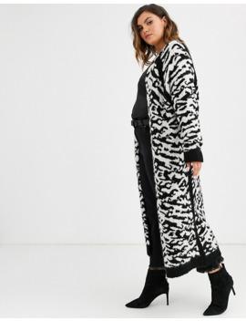 Asos Design Curve Maxi Cardigan In Animal Pattern Borg Knit by Asos Design