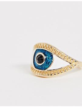 Asos Design Emalje Ring Med øjedesign I Guld Tone by Asos Design