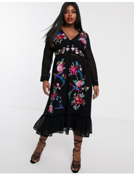 Asos Design Curve Embroidered Skater Midi Dress With Lace Trims And Pephem by Asos Design