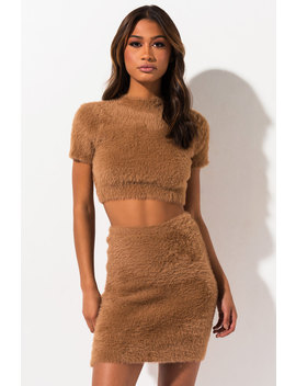 Toffee Fuzzy Knit Crop Top by Akira