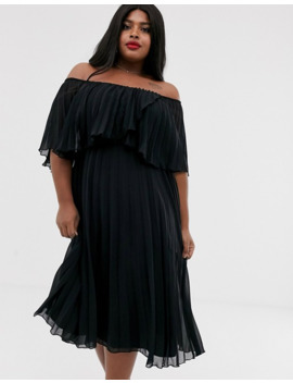 Asos Design Curve Pleated Bandeau Midi Dress With Double Layer by Asos Design