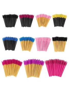 Zwellbe New Good Quality Disposable 50 Pcs/Pack Eyelash Eye Lash Makeup Brush Mini Mascara Wands Brush Eyelash Extension Tool by Wish