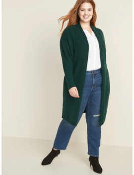 Plus Size Super Long Open Front Sweater by Old Navy