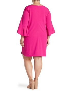 Seamed Solid Ruffle Sleeve Dress (Plus Size) by Vince Camuto