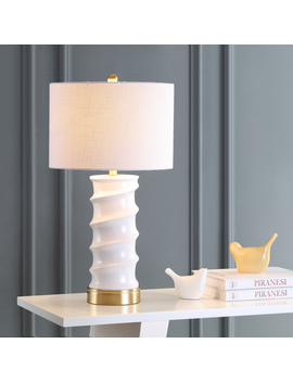"Taipei 28"" Ceramic Led Table Lamp, White/Gold By Jonathan Y by Jonathan Y"