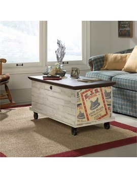 Pemberly Row Rolling Trunk Coffee Table In White Plank by Pemberly Row