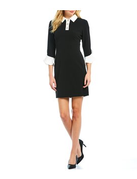 Pearl Collar Contrast Bell Sleeve Scuba Crepe Sheath Dress by Karl Lagerfeld Paris