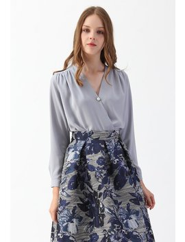 Button Decorated Wrap Chiffon Top In Dusty Blue by Chicwish