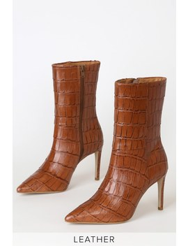 Dream Catcher Cognac Leather Pointed Toe High Heel Boots by Matisse