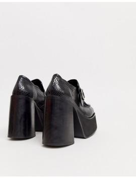 Kaltur – Ormskinnsmönstrade Loafers Med Platåklack Och Spänne by Kaltur