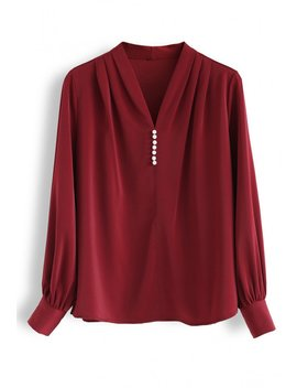 Pearls Trim Satin V Neck Top In Wine by Chicwish