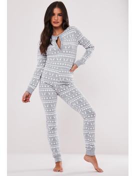 Gray Fairilse Christmas Loungewear Onesie by Missguided