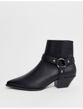 Asos Design Aidan Harness Western Ankle Boots In Black by Asos Design