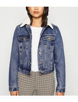 Petite Blue Borg Collar Denim Jacket by New Look