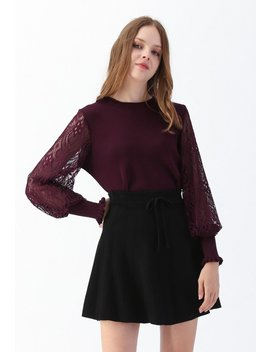 Delicacy Lacy Sleeves Knit Sweater In Wine Delicacy Lacy Sleeves Knit Sweater In Grey Leopard Detail Pleated Velvet Midi Skirt Delicacy Lacy Sleeves Knit Sweater In Pink Leopard Printed Double Layered Mesh Tulle Pleated Skirt by Chicwish