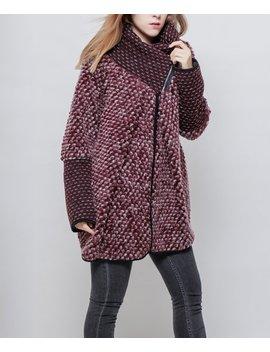 Wine Wool Blend Jacket   Women by Jnj Couture