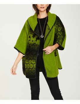 Green Faded Geo Wool Blend Three Quarter Sleeve Coat   Women &Amp; Plus by Ornella Paris