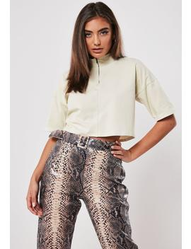 Sand Zip High Neck Boxy Crop Top by Missguided