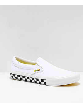 Vans Slip On Pro Checkerboard White &Amp; Yellow Skate Shoes by Vans