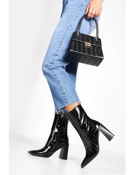 Wide Fit Croc Square Toe Block Heel Sock Boots by Boohoo