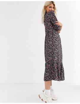 New Look Tiered Smock Midi Dress In Multi Coloured Floral by New Look