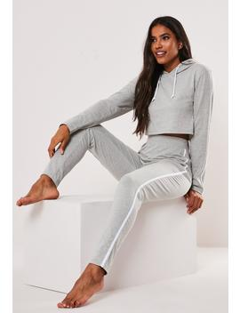 Grey Side Stripe Cropped Hoodie Loungewear Set by Missguided