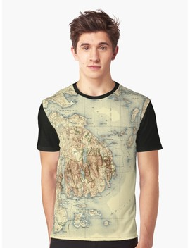 Map Of Acadia National Park 1931 Graphic T Shirt by Mollyfare
