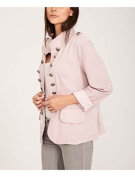 Pink Ribbed Sleeve Button Accent Blazer   Women &Amp; Plus by Keep Kool