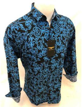 Men Premiere Long Sleeve Button Down Dress Shirt Blue Black Paisley Designer 623 by Premiere
