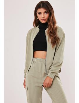 Tall Green Co Ord Pinstripe Bomber Jacket by Missguided