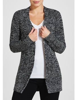 Black Marl Ribbed Knit Cardigan by Matalan