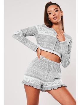 Grey Fairilse Button Frill Pyjama Set by Missguided