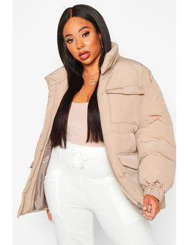Plus Belted Funnel Neck Utility Puffer Jacket by Boohoo