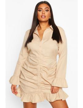 Plus Ruched Ruffle Hem Shirt Dress by Boohoo