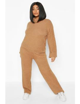Plus Soft Knit Wide Leg Trouser by Boohoo