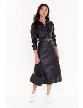 Leather Been Better Faux Leather Midi Dress by Nasty Gal