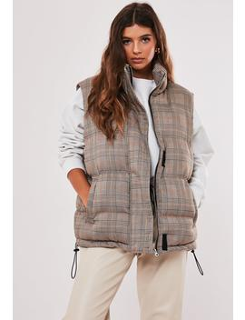 Black Plaid Print Padded Gilet by Missguided