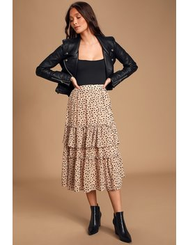 Twirl Me Taupe And Black Print Tiered Midi Skirt by Lulus