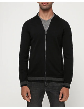 Full Zip Cotton Baseball Sweater by Express