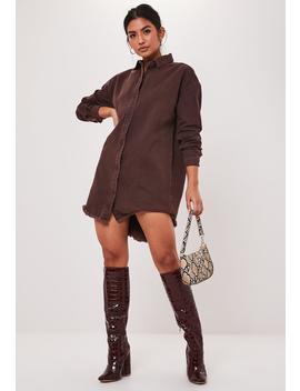 Chocolate Oversized Denim Shirt Dress by Missguided