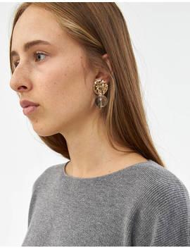 Mini Textured Globe Earrings In Transparent by Modern Weaving Modern Weaving