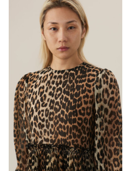 Ganni Pleated Georgette Dress   Leopard by Garmentory