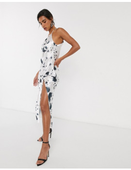 Asos Design One Shoulder Midaxi Dress In Satin With Drape Back In Mono Print by Asos Design