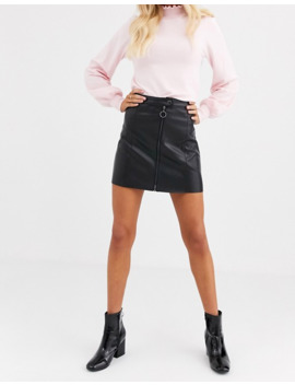 Jdy Faux Leather Mini Skirt With Zip Deatil by Jdy's