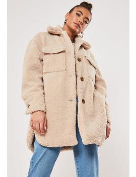 Cream Borg Teddy Long Oversized Trucker Jacket by Missguided