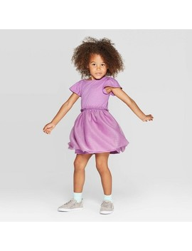 Toddler Girls' Short Sleeve Tulle Dress With Shine   Cat & Jack™ Purple by Cat & Jack