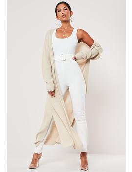 White Scoop Neck Belted Jumpsuit by Missguided